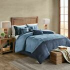 Chic 7pc Textured Shades of Blue Microsuede Comforter Set AND Decorative Pillows image