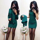 Womens Spring Business Outfit Solid Color Pencil Dress And Jacket 2pc Black Suit