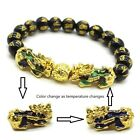 Lucky Feng Shui Black Obsidian Alloy Wealth Pixiu Beads Gold Bracelet Luck Charm