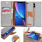 Canvas Cover Flip Leather wallet Case for iPhone 7 8 Plus XS Max / 11 Pro