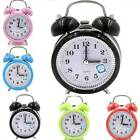 Silent Analog Alarm Clock Vintage Retro Home Night Light Extra Loud Twin Bells