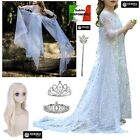 Frozen 2 Veli Vestito Carnevale Elsa Bianco Simil White Elsa Dress FROZ043 SD
