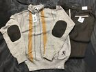 Stacy Adams Brown Gray Quarter Zip Sweater Two Piece Pant Set Size L 36 / 34