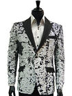 Men Black White Sequin Shimmer Pattern Satin Lapel Trendy Fun Slim Fit Blazer