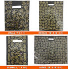500x Strong Black & Gold Printed Carrier Bags Fashion Gift Designer Jewellery