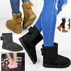 Ladies Womens Winter Fur Bow Snow Ankle Boots Walking Fashion Warm Shoes SZ 3-8