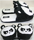 NEW ANGRY PANDA PLUSH FACE OPEN BACK ADULT Slippers House Shoes S 5/6