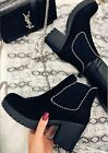 LADIES WOMENS CHUNKY BLOCK PLATFORM HEEL CHELSEA ANKLE HIGH BOOTS SHOES SIZE 3-8