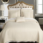 Luxury Checkered Quilted Wrinkle Free Ivory 3 PC Microfiber Coverlet Sets image