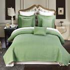 Luxury Checkered Quilted Wrinkle Free Sage 3 PC Microfiber Coverlet Sets image