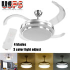 "42"" Retractable Ceiling Fan Light Lamp W/Remote Control Dimmable LED Chandelier"