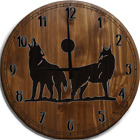 Large Wall Clock Wolves Howling at the Moon Wolf Pack Bar Sign