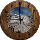 Large Wall Clock Mount Rushmore US Presidential Carving Bar Sign