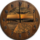 Large Wall Clock Wooden Walkway to the Sandy Beach for Sunset Walk Bar Sign