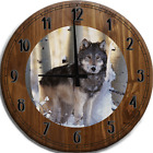 Large Wall Clock Grey Wolf in the Snowy Winter Birch Forest Bar Sign