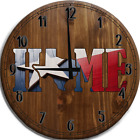 Large Wall Clock Texas Home Wooden Flag Red White Blue Bar Sign