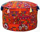 Patchwork Pouf Cover Vintage Embroidery Ottoman Pouffe Case Christmas Decoration