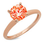 2.5 ct Round Cut Red CZ Wedding Classic Statement Bridal Ring Real 14k Rose Gold