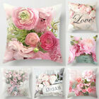 Peony Flower Throw Pillow Case Pink Colorful Sofa Waist Cushion Cover Bed Decor