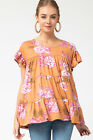 ENTRO LA Floral Print Tiered Ruffle Knit Top
