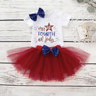 4th of July Baby Girl Romper Bow Sequins Tutu Skirt Headband Outfits Sets 0-18M