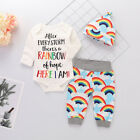 Newborn Infant Baby Boy Girl Bodysuit Outfits Romper Tops Pants Hat 3Pcs Clothes