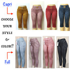 Women's Stretch Striped Casual Pull-On Pants Leggings with Pockets Ankle  Capri