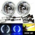 "FIT FORD/DODGE 2X 7"" H6015 H6024 ROUND BLUE/WHITE LED HEADLIGHTS+55W HID 3000K $70.7 CAD on eBay"
