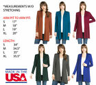 USA WOMENS LONG SLEEVE OPEN FRONT DRAPEY SOFT KNIT TOP BLOUSE CARDIGAN SHIRT