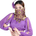 Purple Red Women's Charming Belly Dance Sequins Tribal Face Veil With Beads Mask