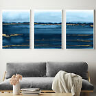 Navy Blue & Gold Abstract Wall Art 3 Piece Set Watercolour Painting Print Poster