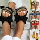 LADIES WOMENS FLATFROM SUMMER BOW SLIDERS SLIP ON MULE FASHION SANDALS SHOES SZ