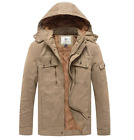 WenVen Mens Military Utility Hooded Winter Cotton Jacket Work Wear(Khaki,X-Larg