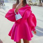 Womens Sexy Off Shoulder Long Puff Sleeves Ruffles Dress Slim Fit Cocktail Skirt