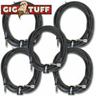 5-Pack Gig Tuff Pro 18.5 ft Right-Angle Guitar Bass Cable Cord Woven Tweed 1/4