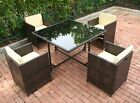 5 Piece Cube Rattan Dining Set Garden Furniture Patio Conservatory Outdoor