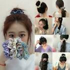 Girls Elastic Hair Rope Flower Pattern Scrunchie Colorful Casual Hairband L8z1