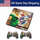 Sticker Skin Decal Cover for Sony PS3 Playstation 3 Slim Console & 2 Controller