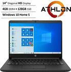 New HP 14  HD Laptop AMD Athlon 3050u 4GB RAM 128GB SSD HDMI Webcam Win10 S