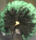 "black  green XL 2 layers Ostrich Feather Fan 34"" x 60"" leather Travel Bag"