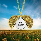 Sunflower Necklace Gift You are My Sunshine Hidden Message Engraved Inspirationa