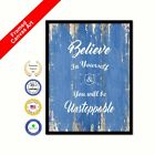 Believe In Yourself & You Will Be Unstoppable Blue Quote Framed Canvas Wall Art