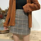 Autumn And Winter Women's Retro Plaid High Waist Bag Hip Step College Wind Skirt