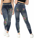 New Women's Floral Printed Stretch Fit Jegging Denim Look fashion Leggings Pants