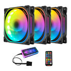 3/5 Pack RGB LED Quiet Computer Case PC Cooling Fan 120mm with Control