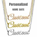 Personalized Custom Name Date Pendant Necklace Stainless Steel Chain Choker Gift
