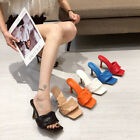 High Heels Knitting Slide Slippers Square Toe Sandals Beach Pool Red Women Shoes