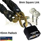 Square Link 8mm Security Hardened Steel Chain+Padlock Bike Bicycle Sheds Gates