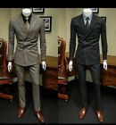 Men Gray/Navy Double Breasted Stripe Suit Tuxedo Dinner Party Prom Wedding Suit