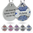 Personalized Dog Tags Pet ID Name Engraved Bone/Round Collar Pendant  Ring Blue